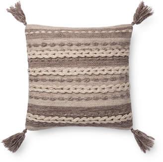 Loloi Dark Taupe Tassel Pillow