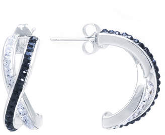 SPARKLE ALLURE Sparkle Allure Black And White Crossover Post 2-pc. Multi Color Hoop Earrings