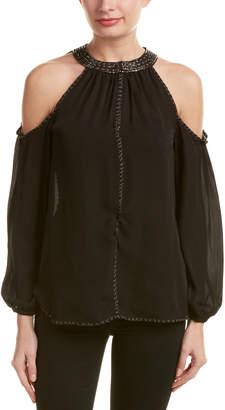 Love Sam Cold-Shoulder Silk Blouse