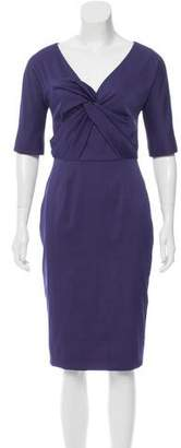 Lela Rose Knot-Accented Midi Dress