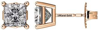 Nana Princess Cut Sterling Silver & Surgical Stainless Steel CZ Stud Earrings - Rose Gold flashed - 5.5mm-2.0cttw