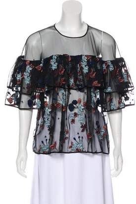 Cinq à Sept Embroidered Ruffle Top w/ Tags