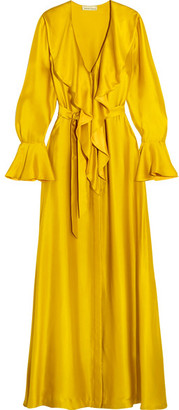 Merchant Archive - Ruffled Silk-satin Gown - Shiny gold