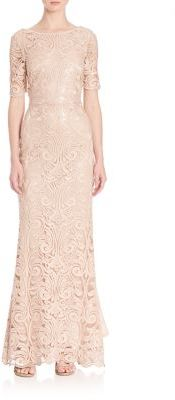 Laundry by Shelli Segal PLATINUM Sequin Lace Gown $695 thestylecure.com