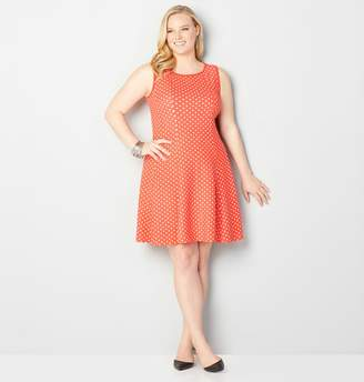 Avenue Textured Polka Dot Fit and Flare Dress