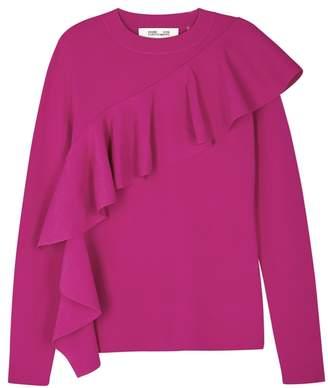 Diane von Furstenberg Pink Ruffled Stretch-knit Sweatshirt