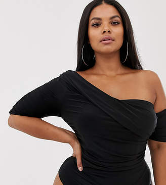 752bb6ceb36 Club L London Plus one shoulder ruched body in black