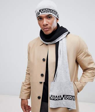 6cb0cb19171 Armani Exchange scarf   beanie gift set in light grey