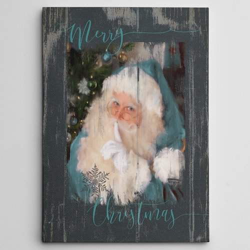 The Holiday Aisle 'A Teal Santa' Photographic Print on Wrapped Canvas