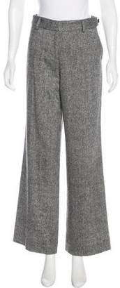Tory Burch Wool-Blend Mid-Rise Wide-Leg Pants