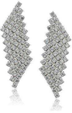 Lord & Taylor Sterling Silver and Cubic Zirconia Mesh Drop Earrings