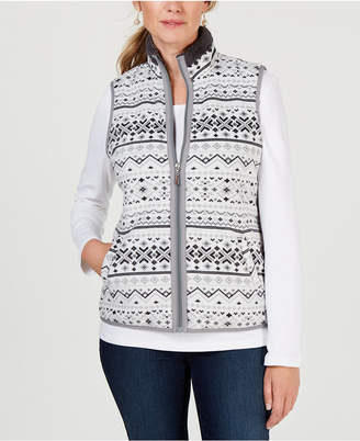 Karen Scott Petite Fair Isle Zip-Front Vest, Created for Macy's
