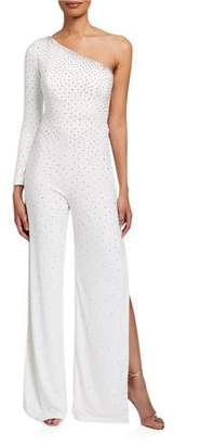 Jovani Embellished One-Shoulder Slit-Leg Jumpsuit w/ Long Sleeve