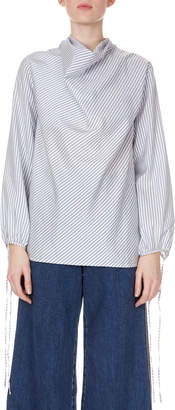 Loewe Long-Sleeve Cowl-Neck Pinstripe Silk top