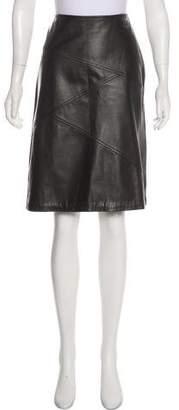 St. John Leather Knee-Length Skirt