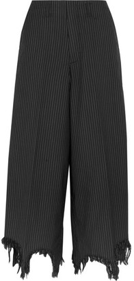 Distressed Pinstriped Wool And Silk-blend Wide-leg Pants - Black