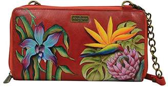 Anuschka Hand Painted Leather Women's Zip Around Rfid Crossbody Clutch |