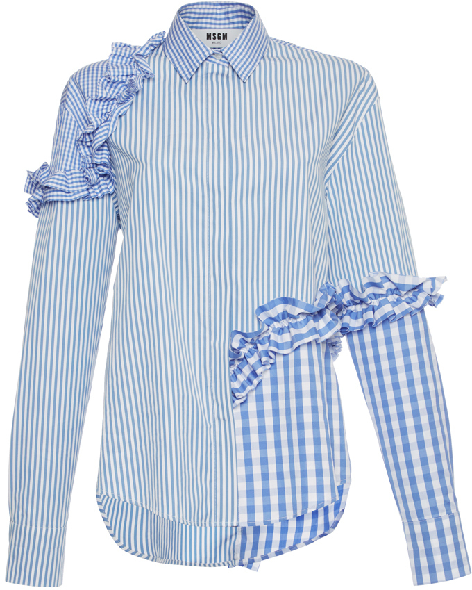 MSGM Gingham Stripe Ruffle Shirt