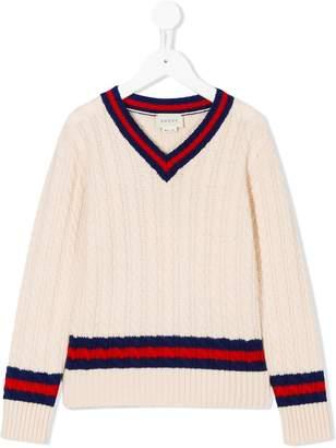 Gucci Kids striped detail jumper