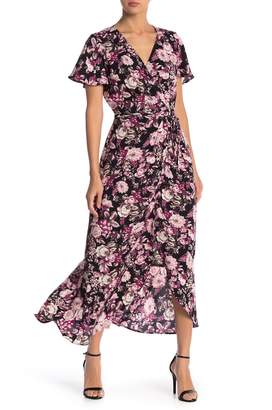 Free Press Patterned Short Sleeve Wrap Dress