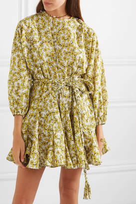Rhode Resort Ella Pleated Floral-print Cotton-poplin Mini Dress - Yellow