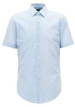 HUGO BOSS Slim-fit shirt in flamingo-print Italian cotton L Open Blue