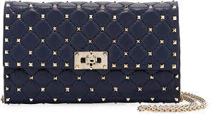 Valentino Rockstud Spike Quilted Napa Leather Wallet on Chain