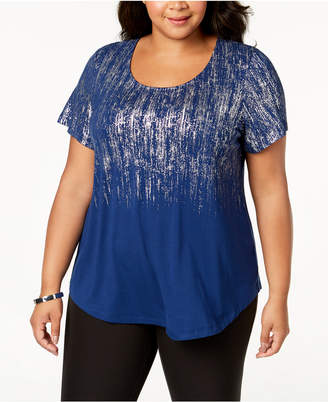 JM Collection Plus Size Ombre Metallic Top, Created for Macy's