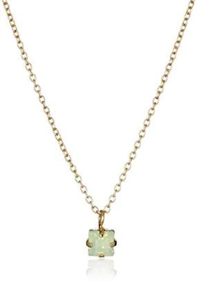 Kris Nations Green Opal Swarovski Crystal Dulce Chiquito Square Gold Necklace