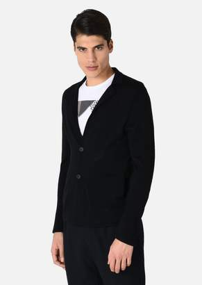 Emporio Armani Cardigan In Plain Knit Virgin Wool