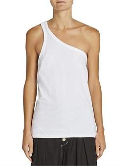 Bassike One Shoulder Jersey Tank