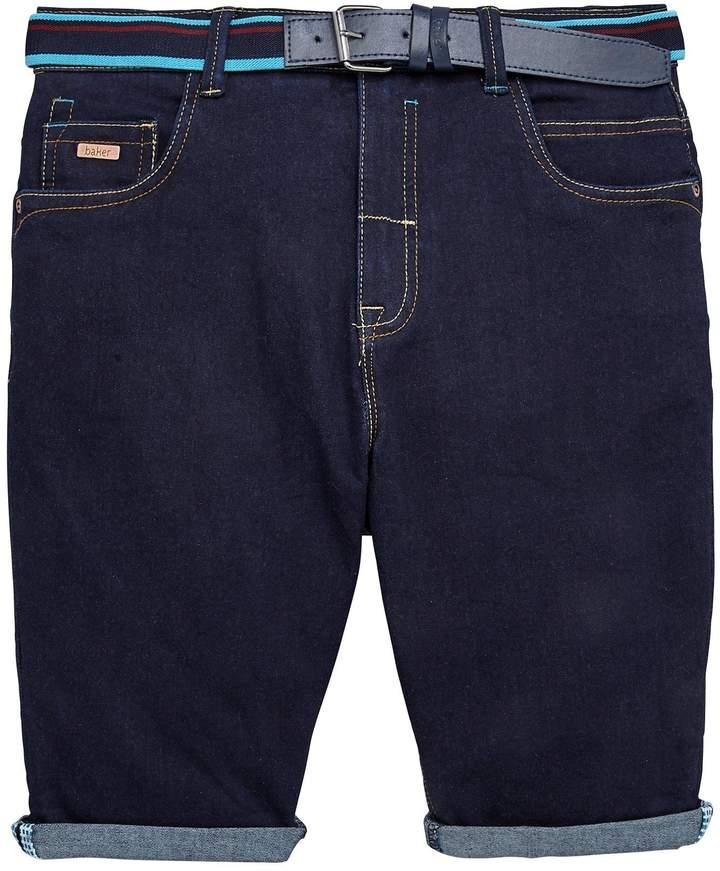 Boys Belted Stretch Denim Short