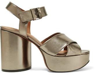 Clergerie Vianne Metallic Leather Platform Sandals - Gunmetal