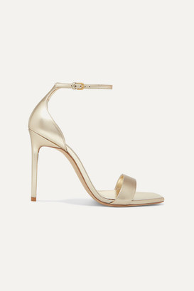 Saint Laurent Amber Metallic Leather Sandals - Gold