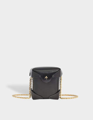Atelier Manu Micro Pristine Bag with Chain Strap in Black Vegetable Tan