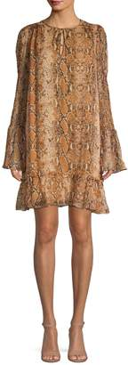 Diane von Furstenberg Printed Bell-Sleeve Dress