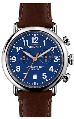 Shinola 'The Runwell Chrono' Leather Strap Watch, 41Mm $750 thestylecure.com