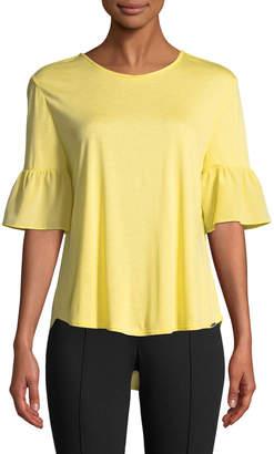 St. John 1/2-Bell Sleeve Viscose Jersey Blouse