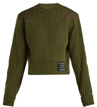Proenza Schouler pswl Pswl - Cropped Cotton Blend Sweater - Womens - Khaki