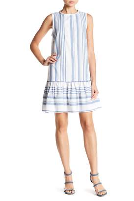 London Times Striped Ruffle Hem Tank Dress