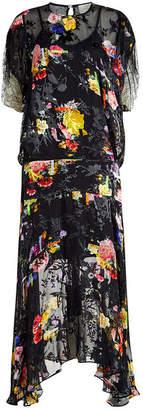 Preen by Thornton Bregazzi Leondra Chiffon and Velvet Floral Gown