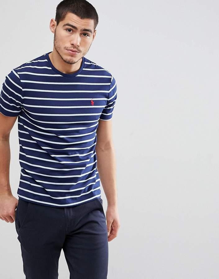 – Gestreiftes T-Shirt mit Polospieler in Marine/Blau