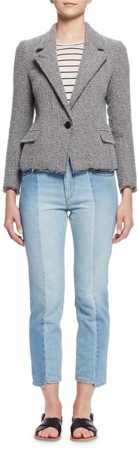 Isabel MarantIsabel Marant Ela Textured Raw-Edge Blazer, Gray