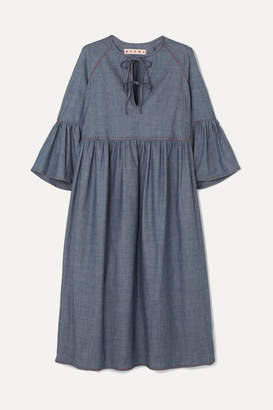 Marni Cotton-blend Chambray Midi Dress - Gray
