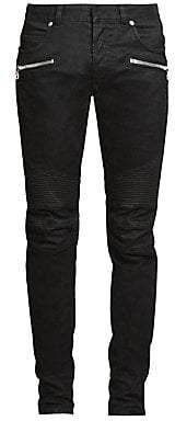 Balmain Men's Monogram Moto Tapered-Fit Jeans