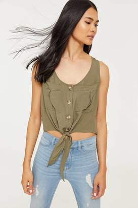 Ardene Knotted Button Front Tank Top