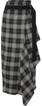 Brunello Cucinelli Asymmetric Checked Linen-blend Skirt - Black