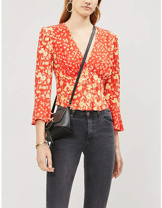 Free People Lady Bohemian fluted-sleeve floral-print woven blouse