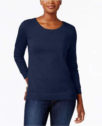 Karen Scott Side-Slit Cotton Sweater