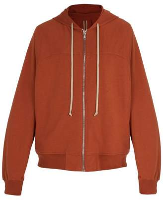 Rick Owens Zip Through Cotton Jersey Hooded Sweatshirt - Mens - Orange